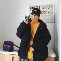 冬季棉衣韩版潮流中长款面包服男士工装情侣外套文艺2018新款