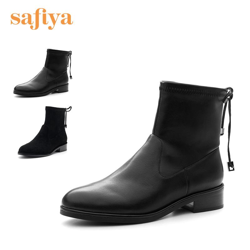 索菲娅(Safiya)秋冬专柜新款舒适低跟后系带短靴女SF84116014