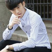 秋季男装长袖衬衫青年时尚印花休闲潮流寸衫修身韩版条纹薄款衬衣