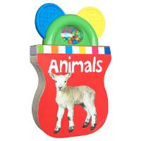 儿童英文原版 Baby Shaker Teethers Animals 动物绘本 异形书 纸板书 认识动物 启蒙单词汇认知 亲子绘本 激发幼儿感官发育