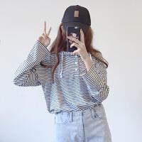 女装秋装2018韩版宽松显瘦百搭学生连帽抽绳条纹长袖套头卫衣上衣