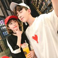 情侣装夏装半袖衫男女生日系韩版圆领短袖T恤爱心印花潮流班