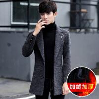 2018秋季新款风衣男羊毛呢子大衣中长款春秋外套韩版学生修身帅气