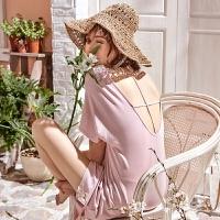 【内衣优选】莫代尔女士睡衣睡裙夏季薄款短袖粉色性感露背可外穿韩版甜美可爱 M1340-粉色蕾丝