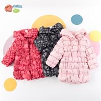 贝贝怡女童中长款棉服冬季新款宝宝甜美洋气加厚保暖连帽外套194S2317