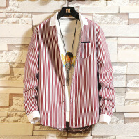 保暖衬衫男长袖韩版修身条纹加绒加厚格子衬衣男士休闲上衣服潮流