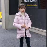 棉服 女童长袖方领连帽花朵拉链衫冬季新款韩版儿童时尚休闲舒适百搭中小童上衣