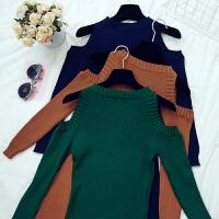 格格家 针织毛衣连衣裙女2018春季新款韩版露肩长袖修身包臀E240
