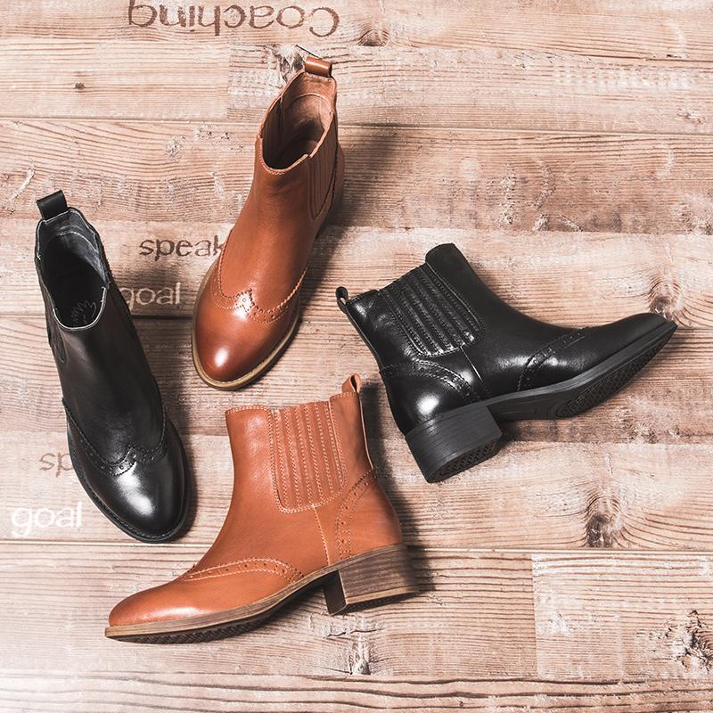 玛菲玛图短靴女粗跟秋季2018新款切尔西靴尖头中跟英伦雕花布洛克女马丁靴1322-3