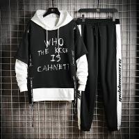 卫衣潮流韩版青年帅气拼色运动套装男秋季潮牌学生宽松休闲两件套
