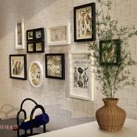 创意客厅实木照片墙相框墙卧室现代简约大相框组合挂墙餐厅相片墙