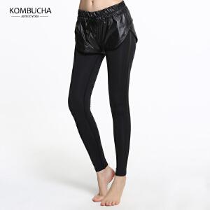 【限时特惠】KOMBUCHA瑜伽裤2018新款女士速干透气紧身弹力高腰长裤瑜伽跑步健身假两件长裤K0166