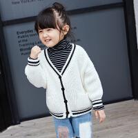 儿童毛衣女秋冬新款加粗毛线百搭圆领休闲宽松纯色针织开衫