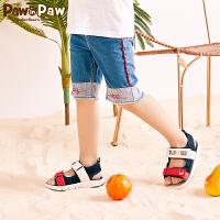 【3件3折 到手价:119】Pawinpaw卡通小熊童装夏款男童磨边五分裤中大童水洗牛仔短裤