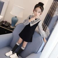 女童连衣裙秋冬小女孩加厚裙子2018新款童装韩版儿童条纹长袖裙