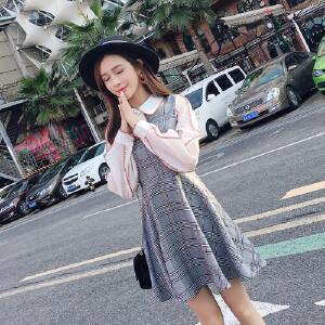 哆哆何伊实拍2018新款女装春装韩版修身裙子长袖雪纺拼接格子学院风连衣裙
