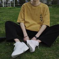 夏季新品潮流文字印花短袖t恤男情侣圆领半袖上衣宽松五分袖体恤