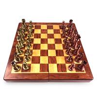 国际象棋古铜色折叠木质棋盘套装复古风镀铜色大号棋子