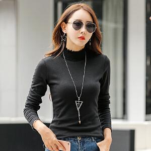秋季新款高领打底衫女长袖t恤纯色小衫修身显瘦上衣秋衣外穿韩版
