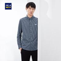 HLA/海澜之家色织条纹休闲长袖衬衫2019秋季新品丝光长袖衬衫男