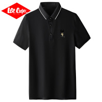 Lee Cooper夏季新款简约男士polo衫字母印花潮牌纯色t恤日系男短袖男polo衫