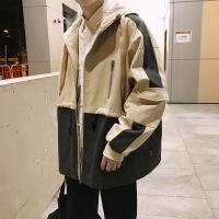 2018冬季新款连帽夹克男士加肥大码宽松休闲外套冬装韩版潮流男装