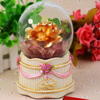 金箔玫瑰花水晶球金玫瑰 送女友老婆女生定制生日礼物摆件