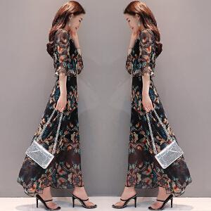 安妮纯2019夏装新款女装韩版显瘦长款裙子印花长裙喇叭袖雪纺连衣裙女夏