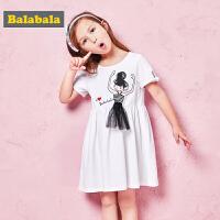 巴拉巴拉童装女童小童宝宝连衣裙夏装新款淑女中长款短袖裙子