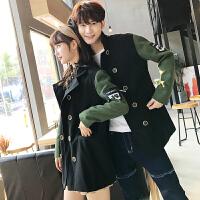 新款秋冬装韩版男女中长款立领毛呢大衣休闲拼接情侣呢子风衣外套