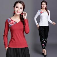 中国风女装上衣秋装新款民族风刺绣长袖修身棉绣花大码打底衫