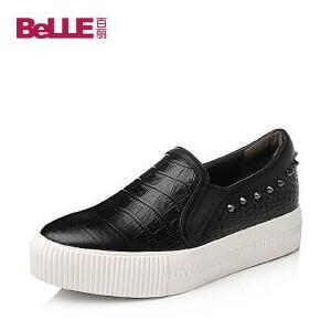 Belle/百丽 秋专柜同款压花牛皮女单鞋BEHA2CM5