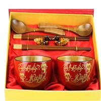 创意实木碗筷刻字结婚礼物新婚实用闺蜜新婚礼品送朋友婚庆摆件礼品