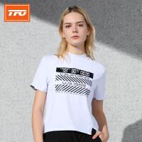 【下单即享7折优惠】TFO  19年新款 潮流印花 时尚短款 女款速干短袖运动T恤
