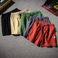 夏季棉麻休闲短裤男士加肥大码韩版宽松五分裤潮流学生5分沙滩裤