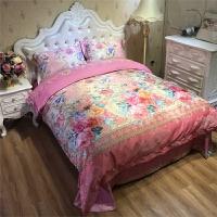 欧式提花秋冬全棉加厚磨毛四件套纯棉婚庆床品床上用品4件套保暖 粉红色 艾瑞林 粉