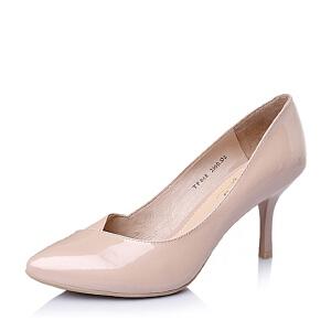 BASTO/百思图春专柜同款牛皮时尚尖头女单鞋TPB68AQ6
