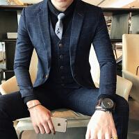 新品18秋冬新款男士韩版修身潮流格子西装三件套青年免烫休闲西服