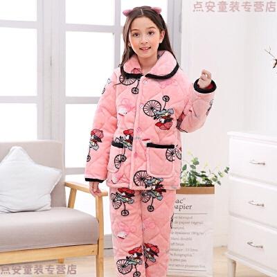 儿童法兰绒睡衣冬季夹棉加厚款宝宝大童女童睡衣珊瑚绒男童家居服