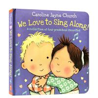 英文原版We Love to Sing Along! 儿歌童谣绘本 纸板书 rain rain go away,you