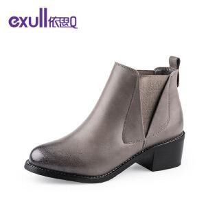 依思Q个性英伦中跟粗跟时尚女短靴