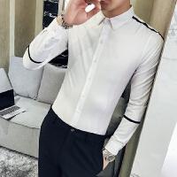 新品18春装款男式韩版修身免烫长袖衬衫潮流青年男士休闲衬衣