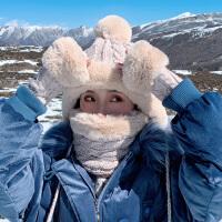 针织毛线帽子女秋冬季雷锋帽加绒护耳冬天手套三件套