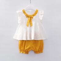女童夏装套装新款婴儿背心短裤夏女宝宝洋气套装