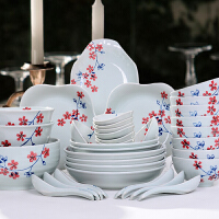 靓佳 釉下彩手绘套装浪漫樱花36件套餐具 陶瓷餐具套装