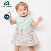 迷你巴拉巴拉女宝宝连衣裙2018夏装女童婴幼儿碎花拼接时尚公主裙