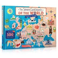 英文原版 The Seven Continents Of The World 世界七大洲趣味翻翻纸板书 大开本开发左右