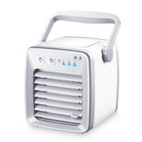 迷你空调扇床上静音电扇学生宿舍办公室便携制冷USB电风扇小空调 米白色
