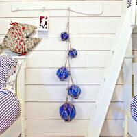 创意麻绳玻璃浮球壁饰 欧式田园风格墙壁挂饰 墙上装饰品