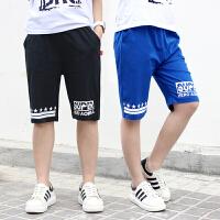 儿童短裤 男童卡通字母棉质五分裤2019夏季新款韩版时尚休闲运动学生中大童款式裤子